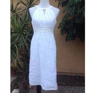 Ann Taylor white linen/cotton midi length dress